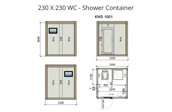 KW2 230X230 Wc - Shower Container