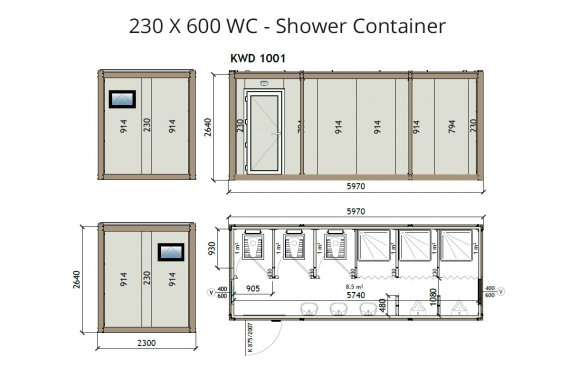 KW6 230X600 Wc - Shower Container
